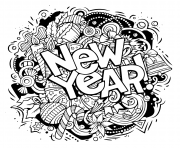 Printable new year doodles objects and elements coloring pages