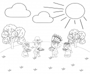 Printable thanksgiving day make new friends coloring pages