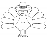 Printable turkey thanksgiving day simple easy coloring pages