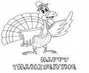 Printable cartoon thanksgiving turkey with pilgrim hat coloring pages