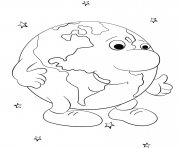Printable cartoon earth character by Lena London coloring pages