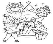 Printable Christmas Kids around the Christmas tree coloring pages