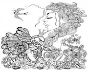 Printable fairy for adult woman swan and bird coloring pages