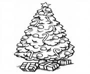 Printable beautiful christmas tree with gifts coloring pages