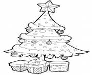 outlined christmas tree with gift box