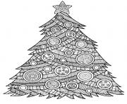 illustration for adults christmas tree with christmas balls and a star pattern