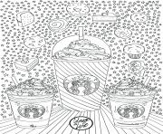 Printable starbucks frappuccino cakes donuts adults coloring pages