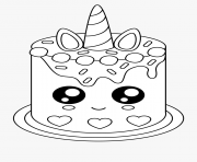 Printable easy cake unicat coloring pages