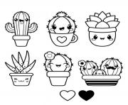 Printable kawaii funny characters cactus Cactaceae coloring pages