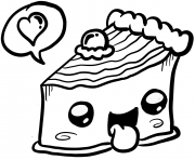 Printable kawaii delicious cake food coloring pages