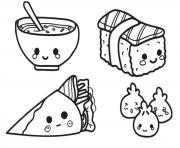 Printable kawaii chinese food coloring pages