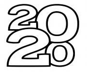 Line Art New Year 2020 Numbers Only