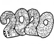 Printable New Year 2020 Doodle coloring pages