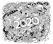Printable New Year and Christmas Objects Page coloring pages