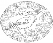 Printable pelican mandala animal coloring pages