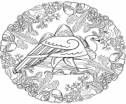Printable vulture mandala animal coloring pages