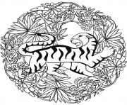 Printable tiger mandala animal coloring pages