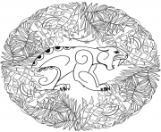 Printable jaguar mandala animal coloring pages