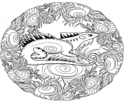 Printable lizard mandala animal coloring pages