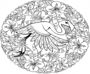 Printable flamingo mandala animal coloring pages