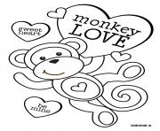 sweet heart monkey love