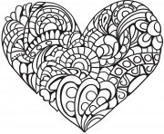 Printable zentangle heart for adult coloring pages