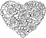 Printable heart made of rose coloring pages