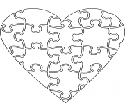 Printable heart jigsaw coloring pages