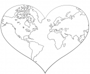 Printable heart shaped earth coloring pages