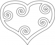 Printable heart with maori swirl coloring pages