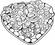Printable heart made of flowers coloring pages