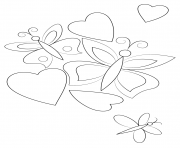 Printable hearts and butterflies coloring pages