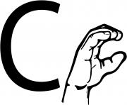 asl sign language letter c