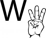 asl sign language letter w