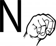 asl sign language letter n