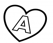 letter a in heart