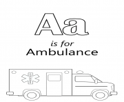 letter a is for ambulance car