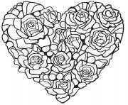 Printable Rosa Hear by flowers and roses coloring pages