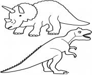 Printable Tyrannosaurus and triceratops coloring pages