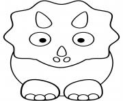 Printable Cute triceratops Baby coloring pages
