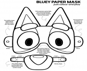 Printable Bluey Paper Mask Colour and Play coloring pages