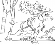 Printable Snowman Olaf and Sven Reindeer coloring pages