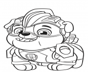 Printable Paw Patrol Mighty Pups Rubble coloring pages