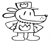 Printable Dog Man Cute hat love coloring pages