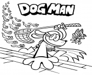 Printable Dog Man capture fish coloring pages