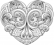 Printable heart floral mandala zentangle beautiful coloring pages