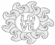 Printable love circle mandala heart waves coloring pages