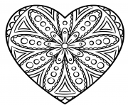 Printable heart mandala circle coloring pages