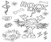 Printable Hard Rock Trolls 2 coloring pages