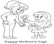 Printable mothers day mother daughter flower gift coloring pages